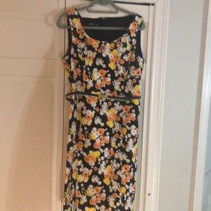 JONES NEW YORK lined Belted SHEATH DRESS